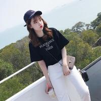 字母短袖T恤2018春夏新款韩版学院百搭印花圆领打底衫体恤女上衣 黑色 S