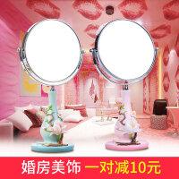 创意化妆镜台式双面梳妆镜放大欧式树脂美容美妆礼物结婚镜子桌面