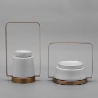 新中式现代创意铁艺陶瓷装饰品摆件样板房间客厅家居酒店室内摆设