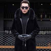秋冬装羊剪绒男皮毛一体皮草大衣外套加厚真皮皮衣男士中长款 黑色