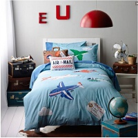 床品床上四件套全棉套件男款儿童被套床单三件套 其它