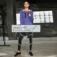 健身服女套装健身房宽松性感瑜伽服套装女跑步运动三件套长袖