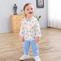 男女宝宝纯棉长袖纱布套装夏季婴幼儿衣服卡通两件套