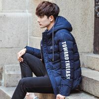 男士棉衣外套冬季新款青年学生短款帅气男装韩版修冬装男 蓝色 M