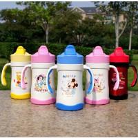 迪士尼保温杯不锈钢带手柄吸管水杯儿童水壶可爱米奇杯子3226