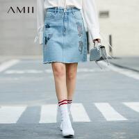 Amii[极简主义]休闲简洁 绣花毛边全棉半身裙 2018春小A型牛仔裙