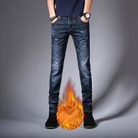 冬季款带绒休闲男士牛仔裤修身小脚瘦腿韩版冬季加绒加厚男秋冬款 蓝色 加绒