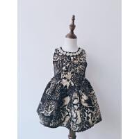 韩版童装女童复古奢华钉珠无袖背心裙连衣裙公主礼服裙