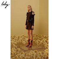 【开学季到手价:119元】 Lily春新款女装修身两穿露肩连衣裙117429B7924