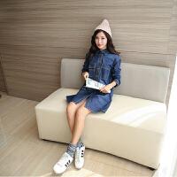 2018春装新款大码女装韩版中长款牛仔衬衫宽松长袖