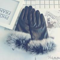 兔毛皮手套女秋冬韩版可爱学生加绒加厚保暖防寒防水开车触屏手套
