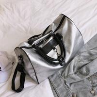短途旅行包女手提韩版行李包袋男旅游包大容量轻便防水运动健身包 银色