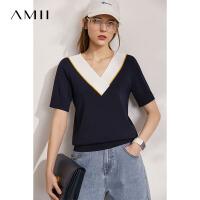 Amii时尚撞色V领修身显瘦毛针织衫女2021夏季新款短袖打底衫上衣