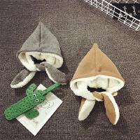 婴儿帽子0-3-6-个月冬季加绒护耳帽保暖宝宝帽子男女童韩版潮秋