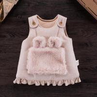 活力熊仔 儿童服装冬季女童外出服加厚夹棉背心裙 毛绒口袋荷叶边儿童裙