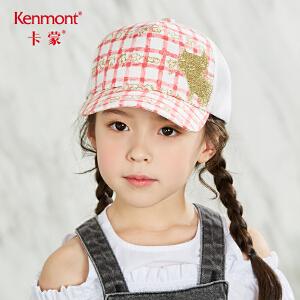 卡蒙3-6岁儿童帽子女夏季宝宝卡通鸭舌帽可爱猫咪刺绣防晒棒球帽4621
