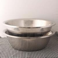 不锈钢加厚淘米盆沥水大盆圆形漏盆洗菜盆果蔬盆过滤盆淘米篮