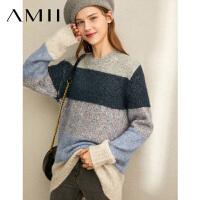 【领券下单立减130元】Amii[极简主义]韩版羊毛哈伦裤2018冬新帅气拼接宽松毛呢九分裤