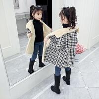 女童外套秋冬装加绒儿童洋气网红冬款呢子大衣潮