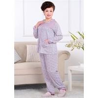 长袖睡衣 秋冬季全棉中老年长袖长裤衣套装女士棉质睡衣
