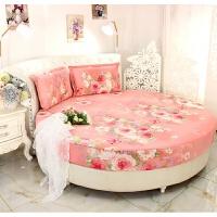 订做纯棉圆床床笠单件全棉圆床床单四件套圆形床罩床垫防滑保护套 桔色 浓情芬芳