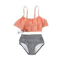 桔色吊带荷叶边小胸条纹高腰遮肚显瘦比基尼两件套泳衣 桔色