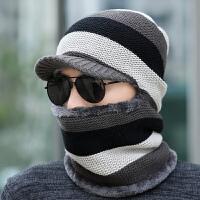 冬天针织帽子男护耳保暖毛线帽骑车连体帽子围巾一体