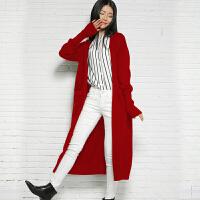 新款秋冬季女士羊绒衫针织衫加厚开衫超长款外套宽松大衣毛衣女