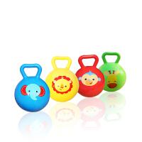 4寸手柄铃铛球婴幼儿摇铃球玩具宝宝手抓球充气皮球玩具