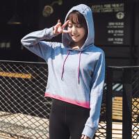 运动外套健身跑步服女新款秋冬季连帽宽松休闲卫衣上衣