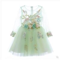 花童蓬蓬裙儿童礼服公主裙女童婚纱晚礼服走秀钢琴演出服长袖