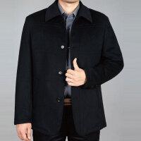 羊毛呢子外套秋冬季加棉款中年男装商务休闲夹克衫纽扣子爸爸外套 6825款深蓝色