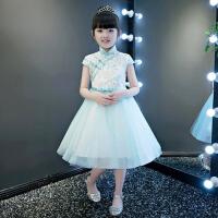 2017花童主持走秀晚礼服秋季 儿童礼服公主裙女童蓬蓬裙表演钢琴演出服 浅 绿色