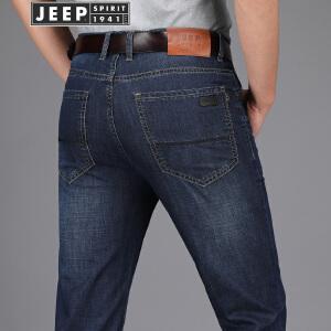 JEEP吉普春秋牛仔裤男直筒中腰牛仔长裤男装舒适棉质微弹中青年男裤子
