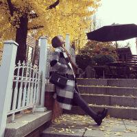 2018秋季新款反季新款黑白格子毛呢外套女中长款韩版学生宽松加厚妮子大衣 乳白色 X