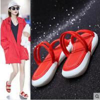 运动拖鞋女夏外穿时尚抖音同款韩版平底厚底两穿网红凉拖鞋子