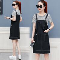 夏季新款女装减龄背带裙两件套2018韩版宽松显瘦小香风连衣裙套装