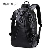 韩版潮流双肩包男士皮包大容量休闲旅行包时尚背包学生书包mt 黑色