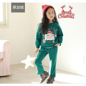 加厚圣诞风印花卫衣+小喇叭裤套装