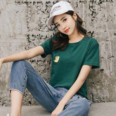 RANJU 然聚2018女装夏季新品新款t恤女短袖圆领韩版学生宽松半袖上衣