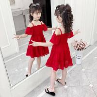 女童连衣裙2019新款夏装儿童裙子夏季露肩雪纺裙小女孩公主裙洋气