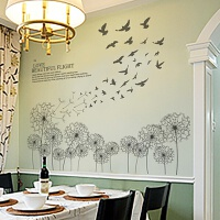 创意客厅沙发背景墙壁墙纸贴画餐厅书房装饰温馨卧室蒲公英墙贴纸自粘装饰贴