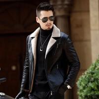 秋冬新款海宁真皮皮衣男皮西服男装修身皮夹克中年男士皮外套加厚