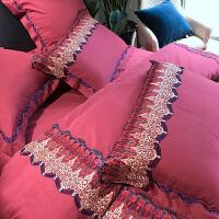 家纺婚庆80支纯棉磨毛四件套蕾丝结婚1.8m米床上用品 婚庆蕾丝-四件套