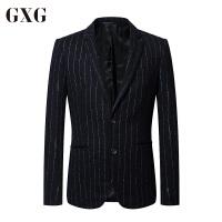 【GXG过年不打烊】GXG男装 春季男士修身时尚都市商务绅士流行气质蓝白条西服男