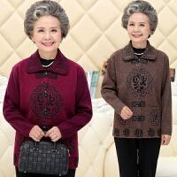 中老年人女装秋冬装加厚毛衣开衫外套60-70岁奶奶装针织老人衣服