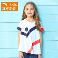 安踏童装 儿童短袖t恤针织衫夏季新款女童半袖上衣36829140