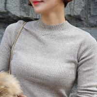 2017秋季新款韩版半高领长袖套头针织衫打底衫修身紧身黑色毛衣女