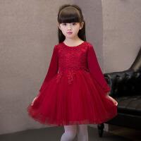 儿童礼服长袖酒红色 女童公主裙生日礼物钢琴蓬蓬裙蕾丝裙 酒红色