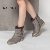 Daphne/达芙妮冬热卖 英伦潮休闲圆头平底女鞋短靴子